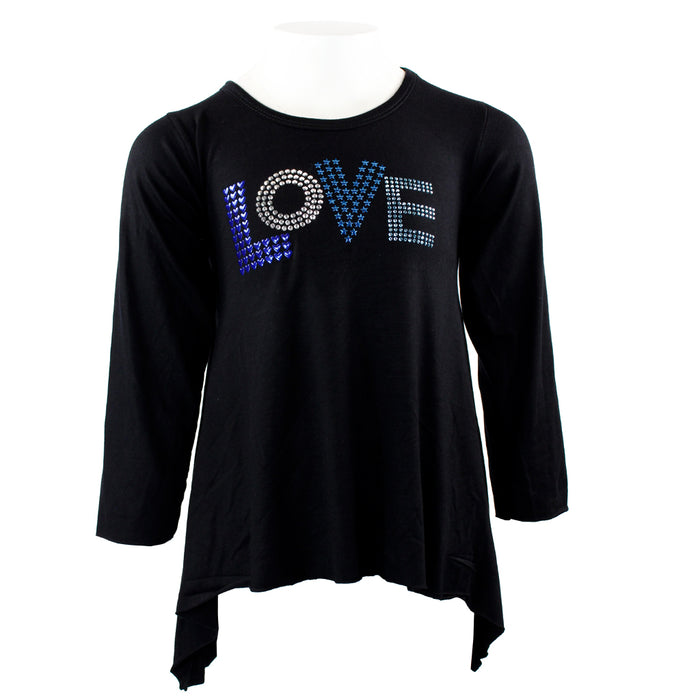 Long Sleeve Angle Top with Blue Love