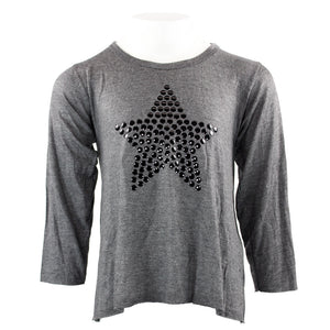 Long Sleeve Hi Lo Top with Star Black Disc