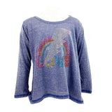 Long Sleeve Slit Top with Rainbow Love Bolt