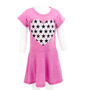 Short Sleeve Swing Dress with Star Heart