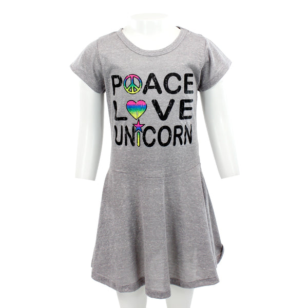 Short Sleeve Swing Dress with Peace Love Unicorn