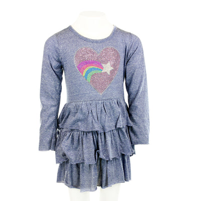 Long Sleeve 3 Tiered Ruffle Dress with Heart Star