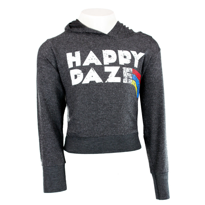 Cropped Brushed Hoody with Happy Daze