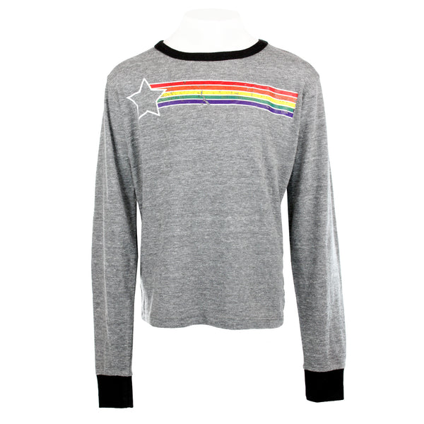 Long Sleeve Ringer Star Rainbow
