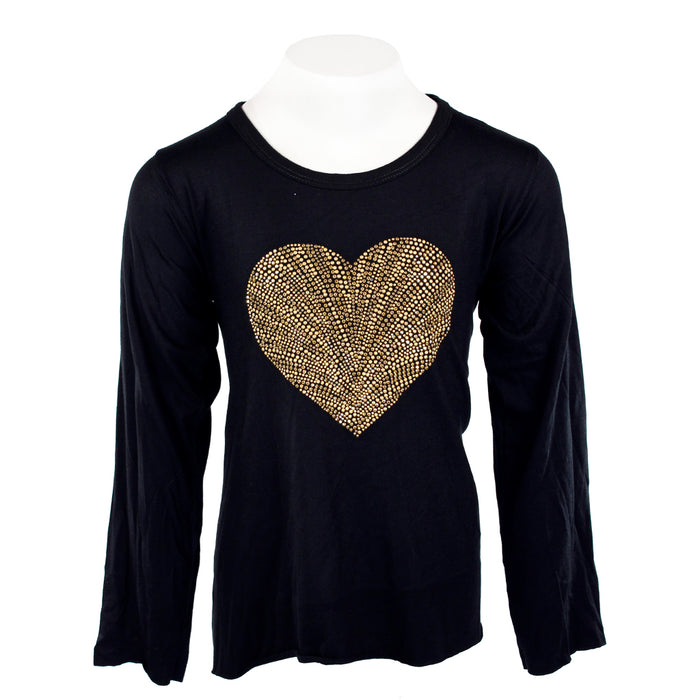 Long Sleeve Top with Hi Lo Gold Shell Heart