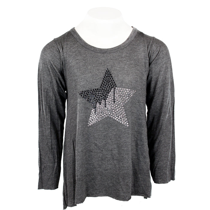 Long Sleeve Top with Hi LDrip Star Black Silver