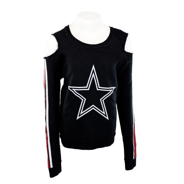 Cold Shoulder Fleece with White Star and Red Stripe