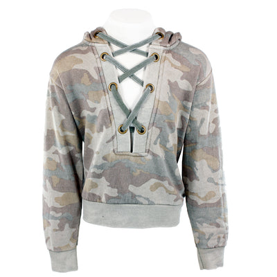 Burnout Camo Lace Up Hoody