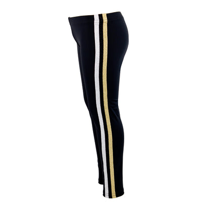 Black Legging with Silver Black and Gold Stripe