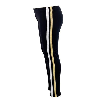 Black Capri with Silver/Black/Gold Stripe Down Side