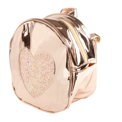 Rose Gold and Pink Glitter Mini Heart Backpack