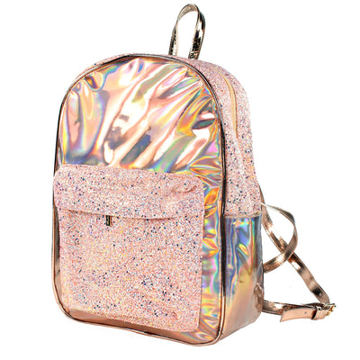 Rose Gold Hologram Glitter Backpack