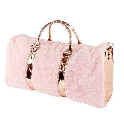 Rose Gold Fur Duffle Travel Bag
