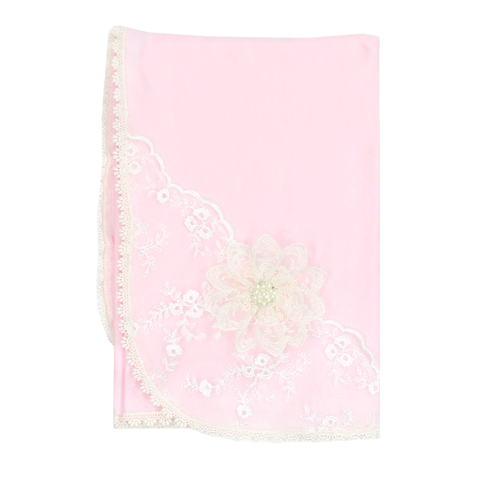 Blanket with Pink and Ivory Lace