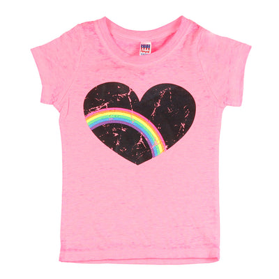 Short Sleeve Burnout Top with Heart Rainbow
