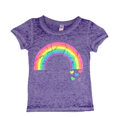 Short Sleeve Burnout Top with Rainbow