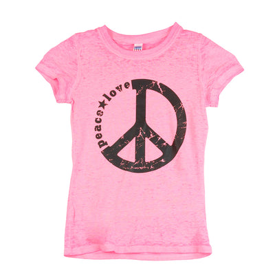 Short Sleeve Burnout Top with Peace Love