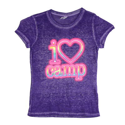 Short Sleeve Burnout Top with I Heart Camp