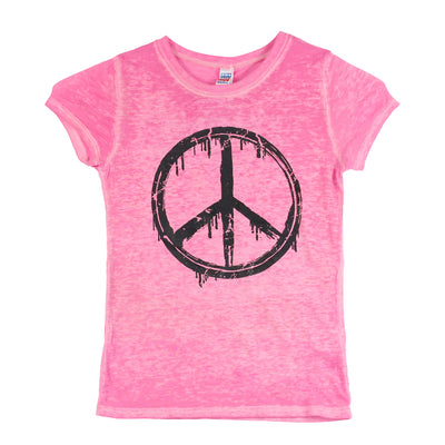 Short Sleeve Burnout Top with Peace Sign