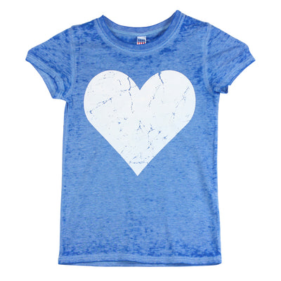 Short Sleeve Burnout Top with White Heart