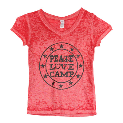 Short Sleeve V-Neck Burnout Top with Peace Love Camp