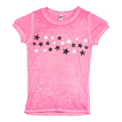 Short Sleeve Burnout Top with Stars Black and White