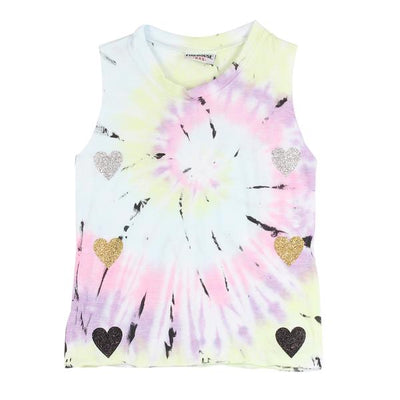 Pastel Tie Dye Muscle Tank with Glitter Hearts