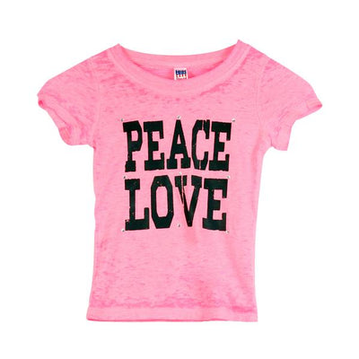 Short Sleeve Burnout Top with Peace Love Stones