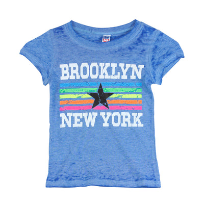 Short Sleeve Burnout Top with Brooklyn New York