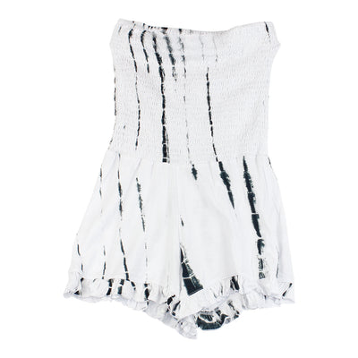 Black and White Tie Dye Smocked Romper