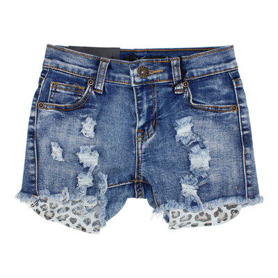 Five Pocket Denim Short with Exposed Leopard Pockets