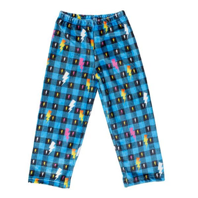 Blue Plaid Lightening Bolt Pant