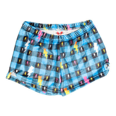 Blue Plaid Lightning Plush Short