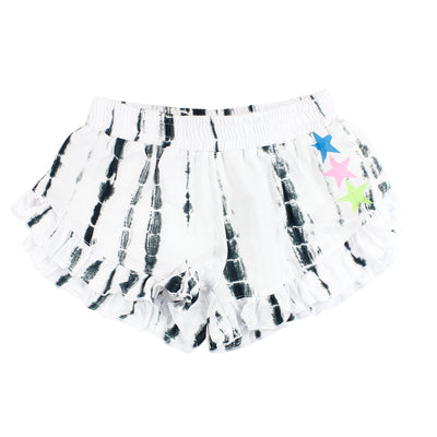 Black and White Tie Dye Ruffle Bottom Short with Neon Stars
