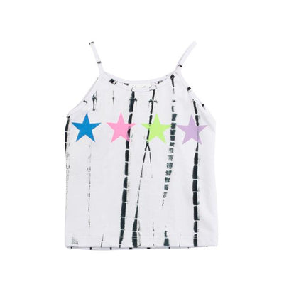 Black and White TIe Dye Tank with Neon Stars