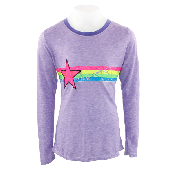 Long Sleeve Hi Lo Retro Stripes with Star