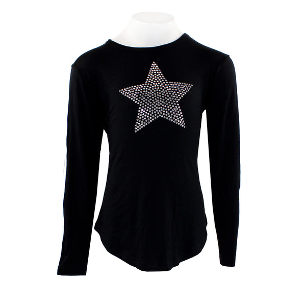 Long Sleeve Top with White Sport Stripe with Applique Star