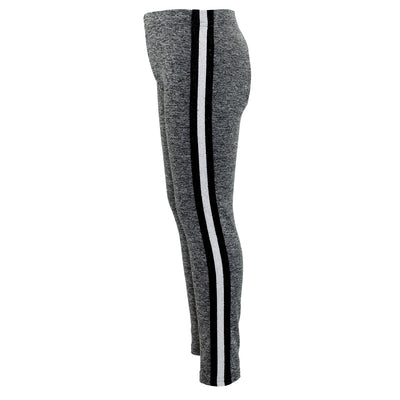 Heathered Legging with Black Silver Black Stripe