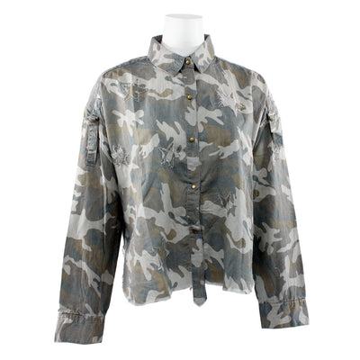 Camo Star Crop Button Down