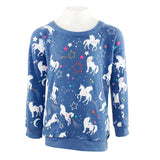 Long Sleeve Hacci Top with Unicorn Fantasy
