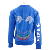 Burnout Fleece Lace Up Pullover w Unicorn Smile