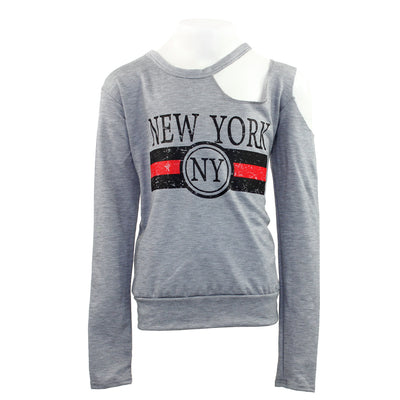 French Terry Long Sleeve Cutout with New York
