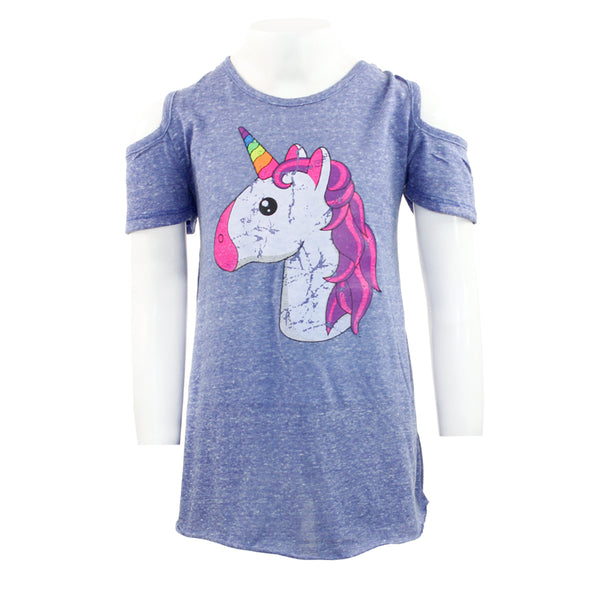 Short Sleeve Cold Shoulder with Unicorn