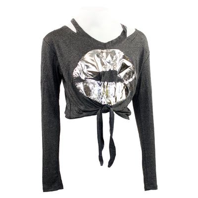 Long Sleeve Tie Front with Silver Lips