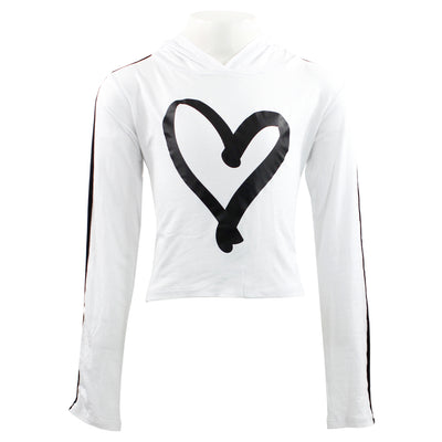 Long Sleeve Hoodie with Piping Heart
