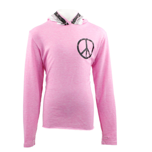 Long Sleeve Hoody with Retro Stripe Peace