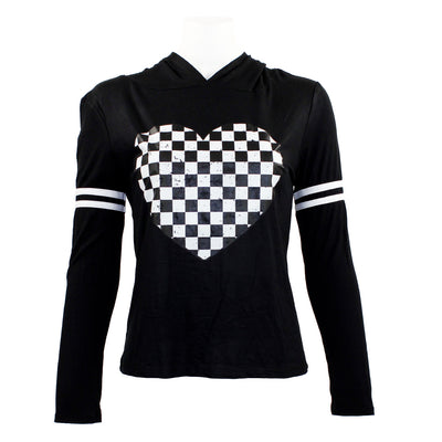 Long Sleeve Checkered Heart Hoodie