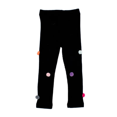 Black Legging with Pom Poms
