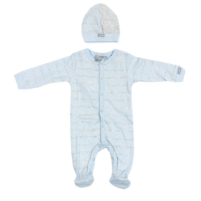 3 Piece Take Home Footie Blue and Grey Stripe
