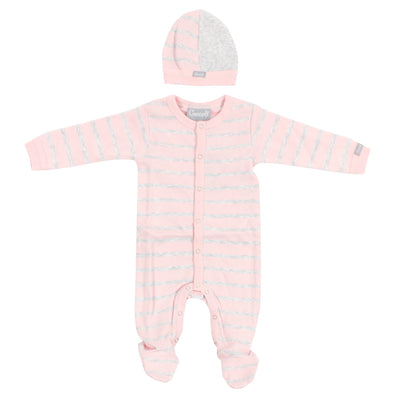 3 Piece Take Home Footie Pink and Grey Stripe